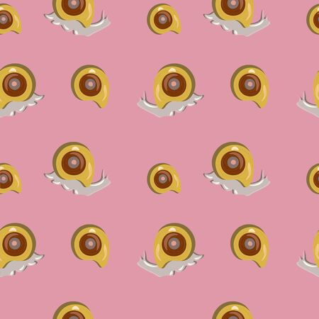 Seamless pattern with a snail producing mucine isolated. Vector design.