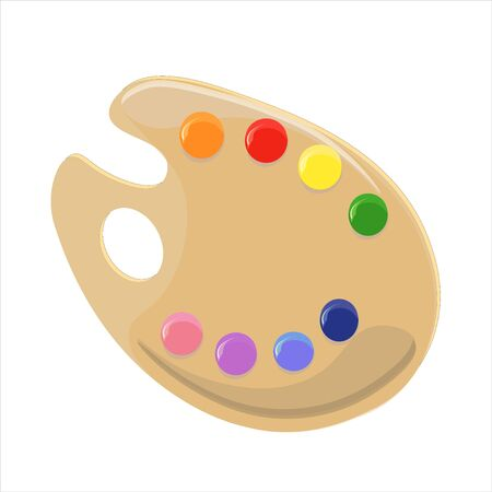 Palette of a painter with bright acrylics portions. Vector illustration.