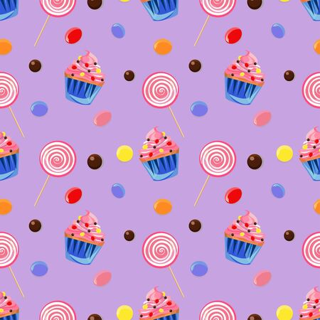 Seamless pattern with sweets including lollipops, jelly beans and cupcakes on light violet background. Illustration
