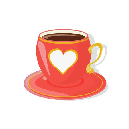 A tea cup with a saucer of red color decorated with white heart and golden elements. Inspired by Alice in Wonderland mad tea party. Vector illustration. Vectores