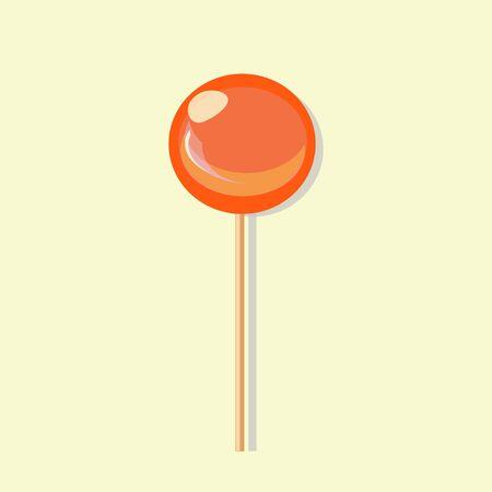 An orange flavored lollipop of simple round shape. vector illustration. Ilustracja