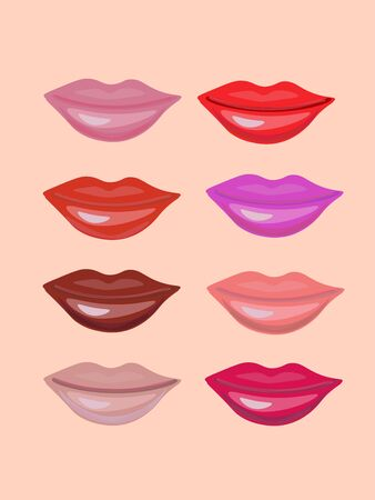 Set of different colored with lipstick lips.