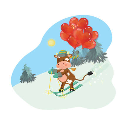 2021 new year greeting card with a bull skiing with heart shaped air balloons. Outdoor scene with spruce forest.