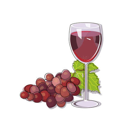 Red grape with a glass af wine isolated on white background. Vector illustration.