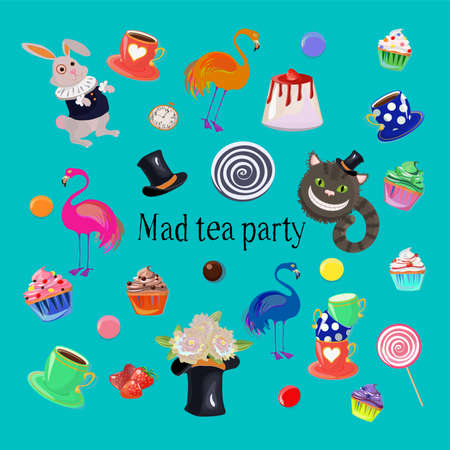 Mad tea party set including rabbit, flamingos, cheshire cat, tea cups, flowers, cupcakes and sprinkles.