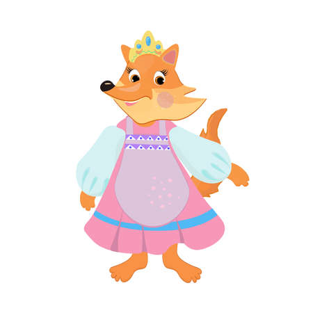 Cartoon fox wearing Russian national costume and a crown.