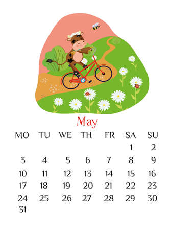 May calendar page 2021 with bull riding a bicycle. Spring outdoor scene.