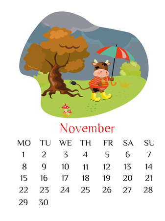 November calendar page 2021 with bull holding the umbrella open and walking under the rain. Fall outdoor scene.