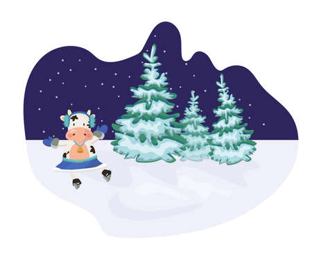 Winter scene with a 2021 symbol bull skating outdoor.