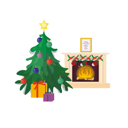 Christmas indoor scene with decorated fireplace, christmas tree and gifts.