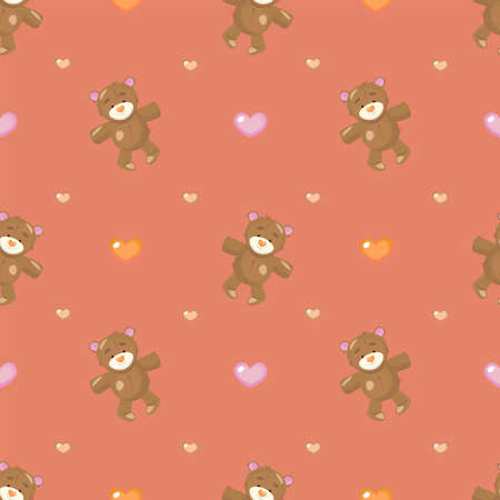 Cute seamless pattern with a Teddy bear and heart shapes.