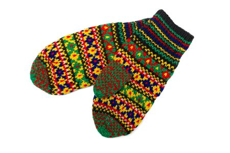 multicoloured: Handmade multicoloured mittens with old russian pattern