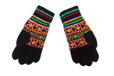 russian pattern: Handmade multicoloured gloves with old russian pattern Stock Photo