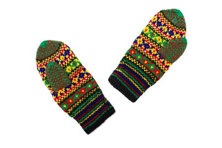 Handmade multicoloured mittens with old russian pattern