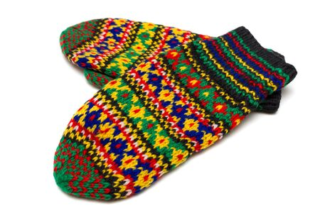 russian pattern: Handmade multicoloured mittens with old russian pattern