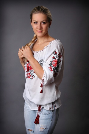 chemise: Woman in traditional ukrainian chemise. Stock Photo