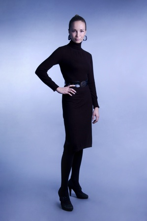 panty hose: Beautiful woman in black dress.