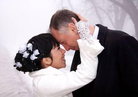 Happy wedding couple photo