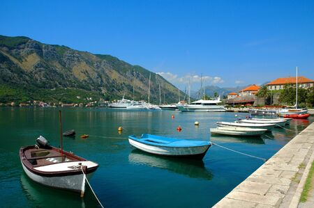 Landscape with boats in Montenegro Stock Photo - 13155997