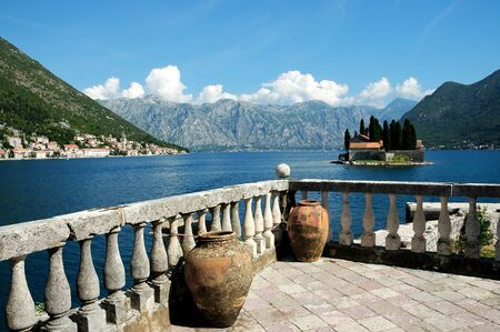 View of island with monastary and coast in Montenegro  photo