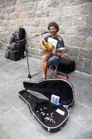 guitar case:  Street singer  Stock Photo