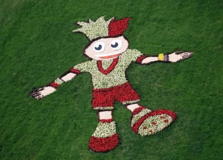 massif de fleurs: Parterre de fleurs avec photo du joueur de football