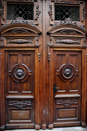 Big beautiful wooden door  with relief ornaments  photo
