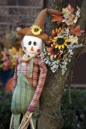 Thanksgiving decoration of scarecrow and dry flowers and leaves in the garden. photo