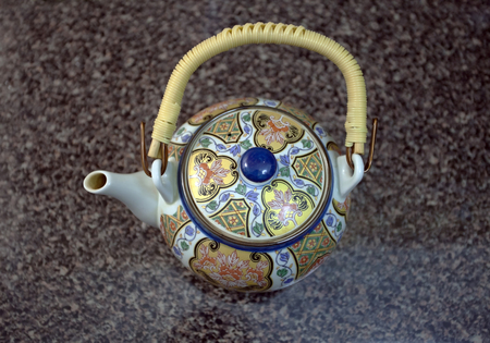 tetsubin: Chinese teapot on the table  Stock Photo
