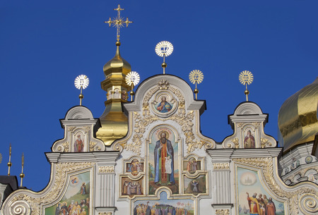 Top detail of cathedral building of Caves Monastery in Kiev  photo