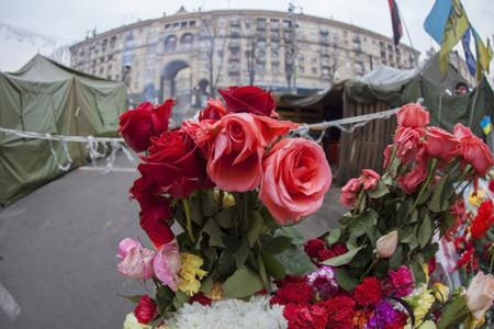 postwar: Flowers in honer of heroes killed on barricades in Kiev during mass protests on Euromaidan