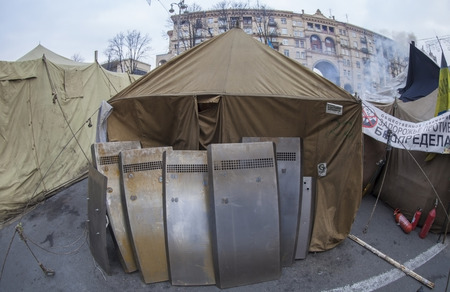 displaced: Military camp on the street of Kiev in time of mass protests against government  Editorial
