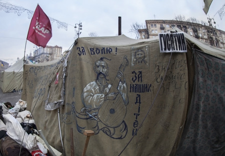 postwar: Camp of protesters on the main street of Kiev during Euromaidan