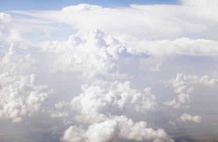 Cloudscape of a lot of white cumulus clouds  Stock Photo