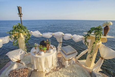 Table set for an event party or wedding on the sea  photo