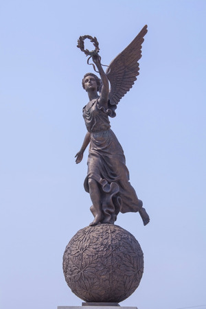 named person: Monument to the Goddess of victory Nike on sphere  in Kharkov