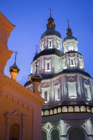 st basil s cathedral: St  Basil s Cathedral at night in Kharkov, Ukraine  Stock Photo