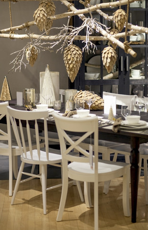 Beautifully decorated dining room and table for Christmas Eve photo