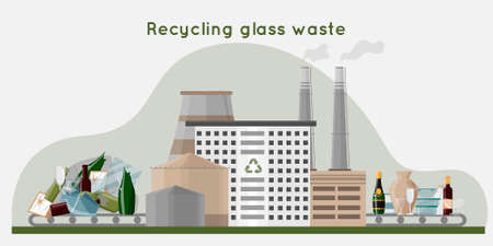 Recycling glass waste into new products. Waste recycling plant with pipes, storage and building. Zero waste concept. flat vector illustration. Vector illustration