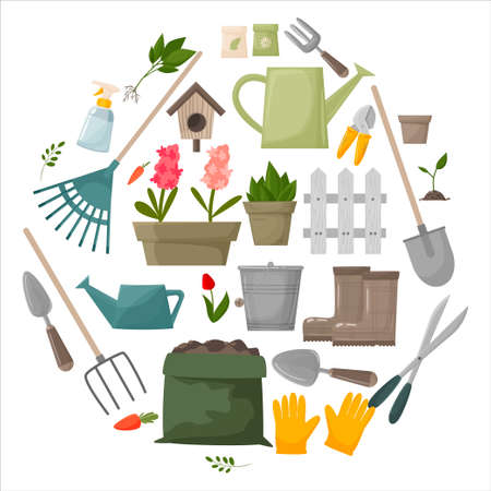 Garden tool vector gardening equipment rake, shovel watering can, scissors, gloves, boots, bucket, seeds. gardener collection farm or agriculture set of illustrations isolated on white background. Vector illustration Vetores