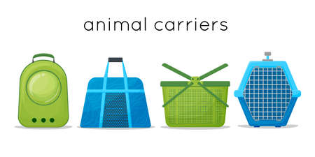 Types of portable pet cages, carrier for dogs and cats cartoon style. rag bag, plastic carrier and backpack for carrying animals vector Illustration on a white background. Vector illustration