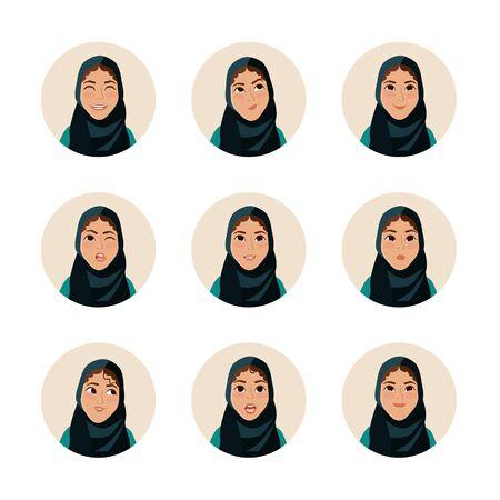 facial expression: Arab facial girl. Facial expression