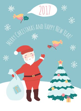 Vector illustration of Santa Claus.Happy New year and Merry Christmas card.Xmas banner.Cartoon flat christmas character.Christmas tree and Santa Claus poster.Winter holiday concept.Happy New year!