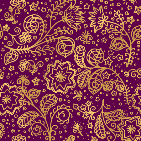 vector gold pattern on burgundy background with line hand drawn fantastic flowers and leaves. Template of textile or box design in doodle style. Foto de archivo - 125022935