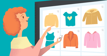 Woman buys using app on smartphone. Virtual shopping. Technology of future. Vector flat illustration of girl who chooses clothes and makes purchases through qr code.Woman in shop. Illustration