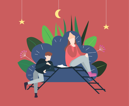 Vector flat  illustration of two woman  who paints a picture. Classic painting master class. Creative workshop.