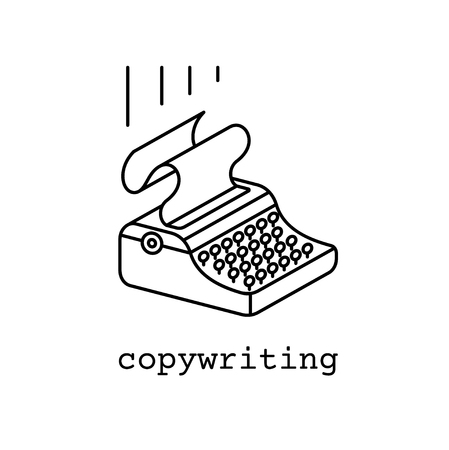copywriting icon or logo concept in linear style. line drawn illustration of corywriter maсhine.