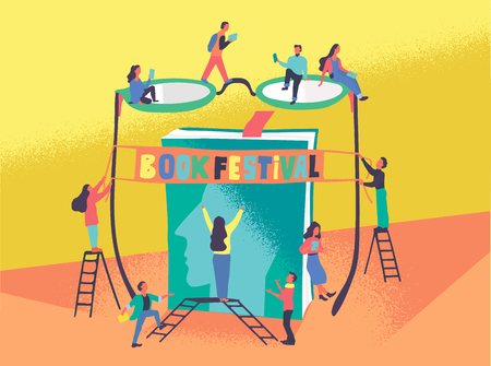 Flat vector illustration of people who prerare are preparing for the book festival. Man and woman read the book and hang a banner on the bow of glasses and stand in front of a giant book. Library, bookfest poster, promotion, advertisement concept. Vettoriali