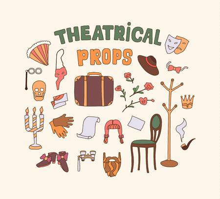 Flat vector illustration of theater props. Dramatic theater things. Color simple icon set. Concept of artistic properties for playing on the stage.
