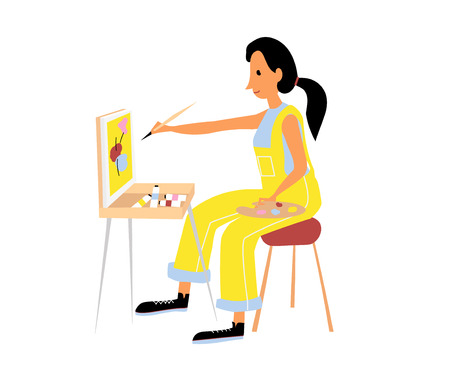 Vector flat illustration of a woman. Classic painting master class. Creative workshop.